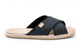 Cross Sandal Raffia Black